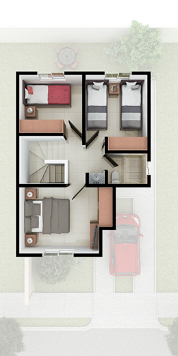Foto de planta alta de casa en venta Modelo Castilla III-7 en Santa Sofía Residencial, Apodaca, Nuevo León.